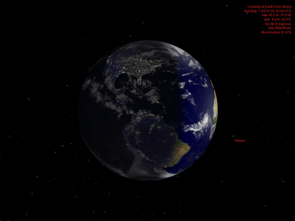 The current Earth phase seen from the Moon