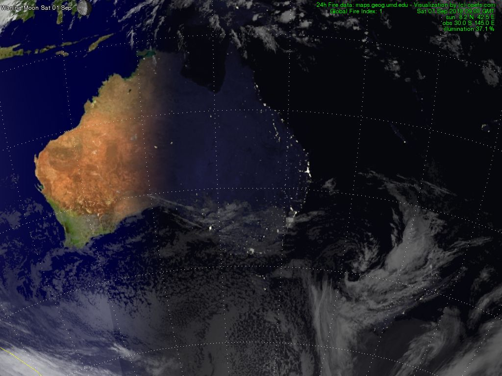 Satellite map of Australia and New Zealand